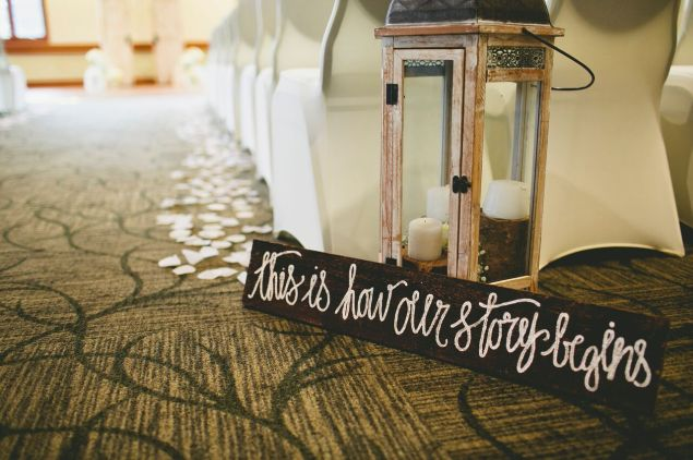 wedding sign and lantern