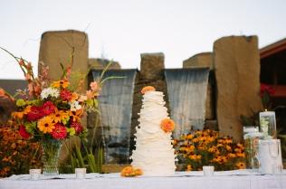 wedding cake by fountain